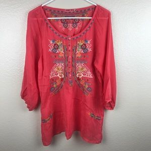 Johnny Was Embroidered Semi Sheer Blouse Popover